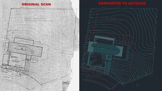 Converted tattered old site plan to AutoCAD